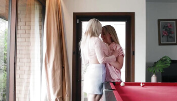 Blonde chicks use the pool table for lesbian intercourse