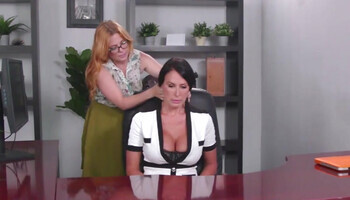Common massage escalated into serious lesbian sex in the office